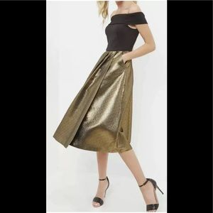 Ted Baker Gold Off The Shoulder Midi Dress Sz XS-S